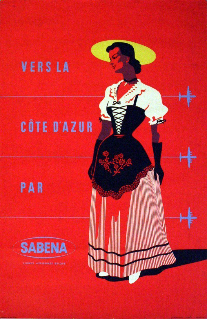 Vers la Côte d'Azur par Sabena - 1960 -