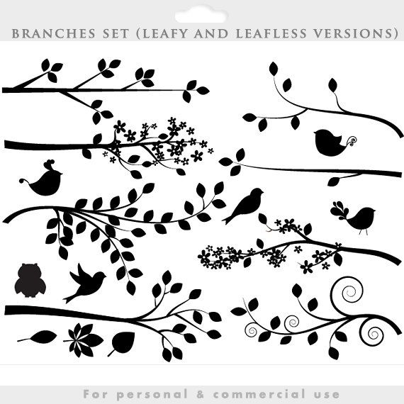 Branch silhouette clipart - tree clip art silouette whimsical, cute, branches, birds, bird, leaves, leaf, decorative personal commercial use by WinchesterLambourne on Etsy https://www.etsy.com/listing/199419531/branch-silhouette-clipart-tree-clip-art