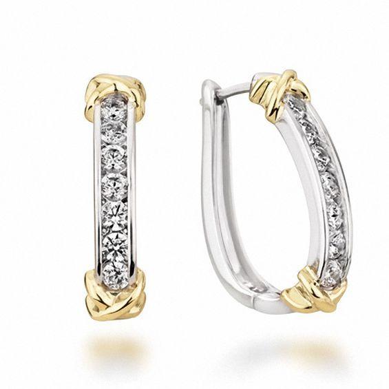 1 4 Ct T W Diamond Channel Hoop Earrings In 10k Two Tone