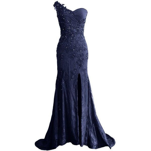 MACloth Women Mermaid One Shoulder Lace Long Formal Evening Dress ...