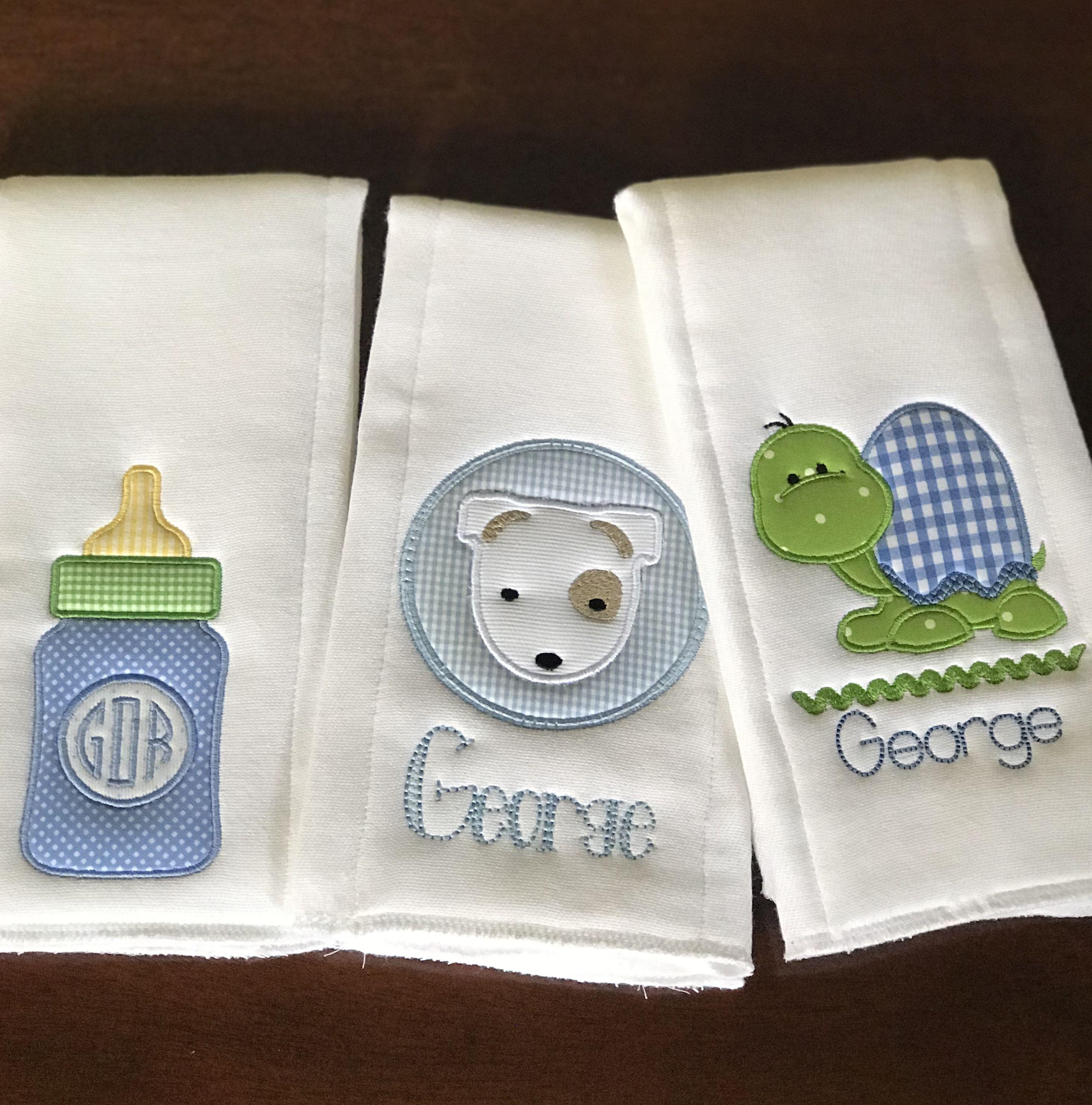 Baby Boy Appliqued Burp Cloth and Baby Bib Set-4 items