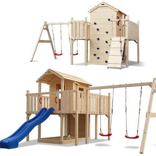Xxl Spielturm Kletterturm Stelzenhaus Rutsche 2 Schaukeln Komplettem Zubehor Von Serina Http Www Amazon De Dp B0 Wall Accessories Diy Building Play Houses
