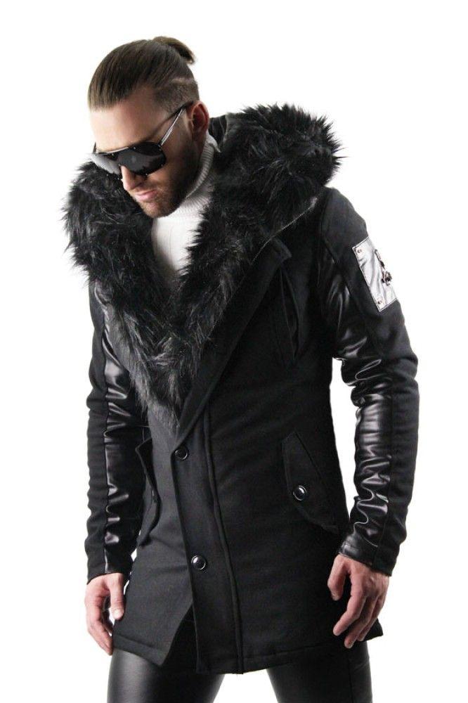 Faux Fur Lined Parka Black Faux Fur Coat Black Coat Men Mens