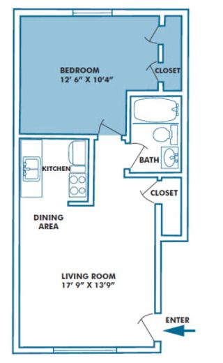 1 bd, 1 ba, 600 sq ft, $65000 a month, water/sewer/garbage included