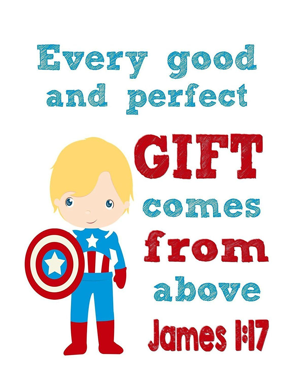Captain America Christian Superhero Wall Art Print Jesus