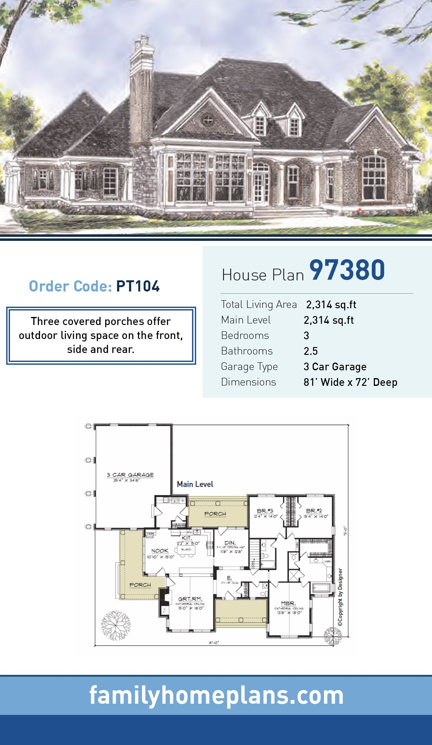 European Style House Plan 97380 with 3 Bed, 3 Bath, 3 Car ... on european duplex house plans, brick ranch style house plans, cottage style ranch house plans, european cottage home plans, european country house plans,