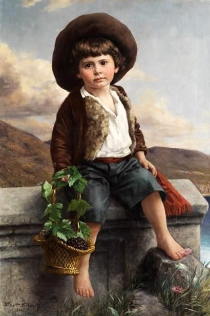 Boy In A Southern Landscape With A Basket Of Grapes