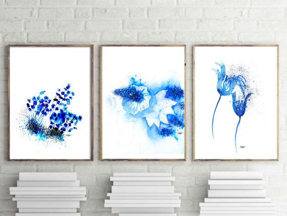 Abstract watercolor set of 6 prints wall art by natureserenity