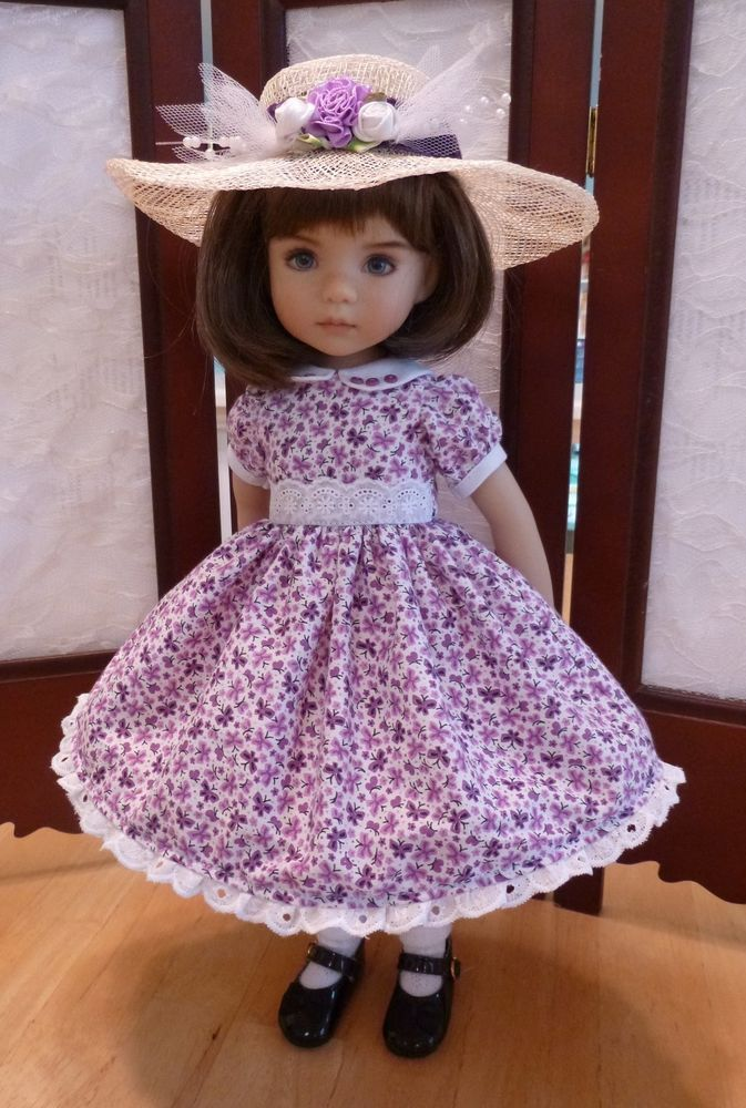 "Purple Butterflies Outfit for 13"" Effner Little Darling Dolls by Apple"