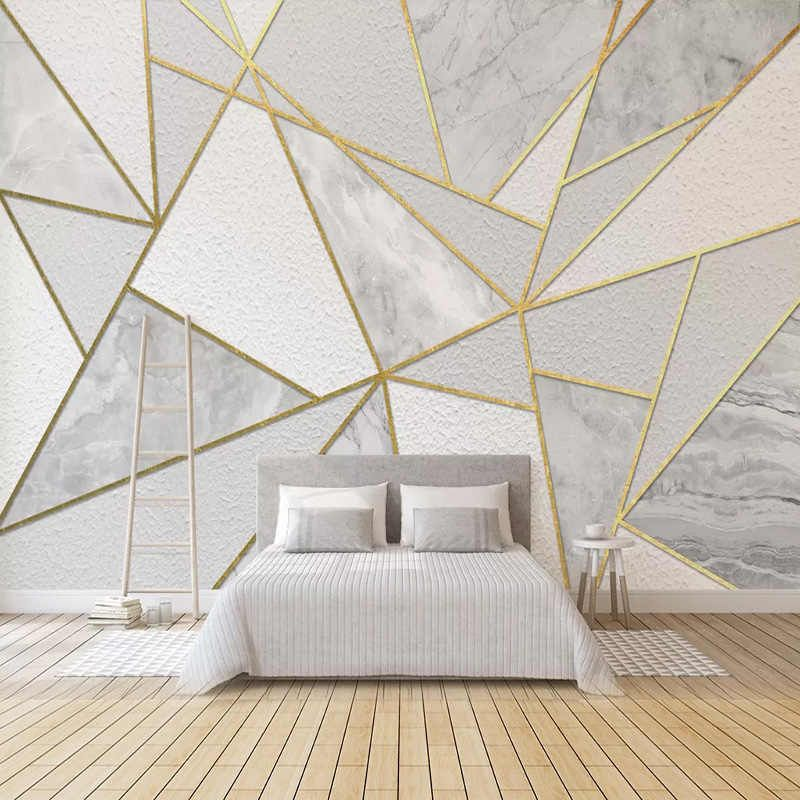 Modern Simple 3d Geometric Marble Wallpaper Golden Line Photo Wall Murals Living Room Bedroom Background Wall Painting 3d Fresco Wallpapers Aliexpress Wall Painting Living Room Living Room Paint Wallpaper Living Room