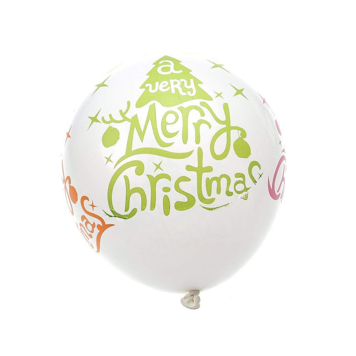 nuolux 100pcs merry christmas print balloons round latex balloons