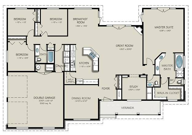 With A Few Simple Modifications This Is My Favorite Floor Plan So Far Jpg 625 438 New House Plans Country Style House Plans Country House Plans