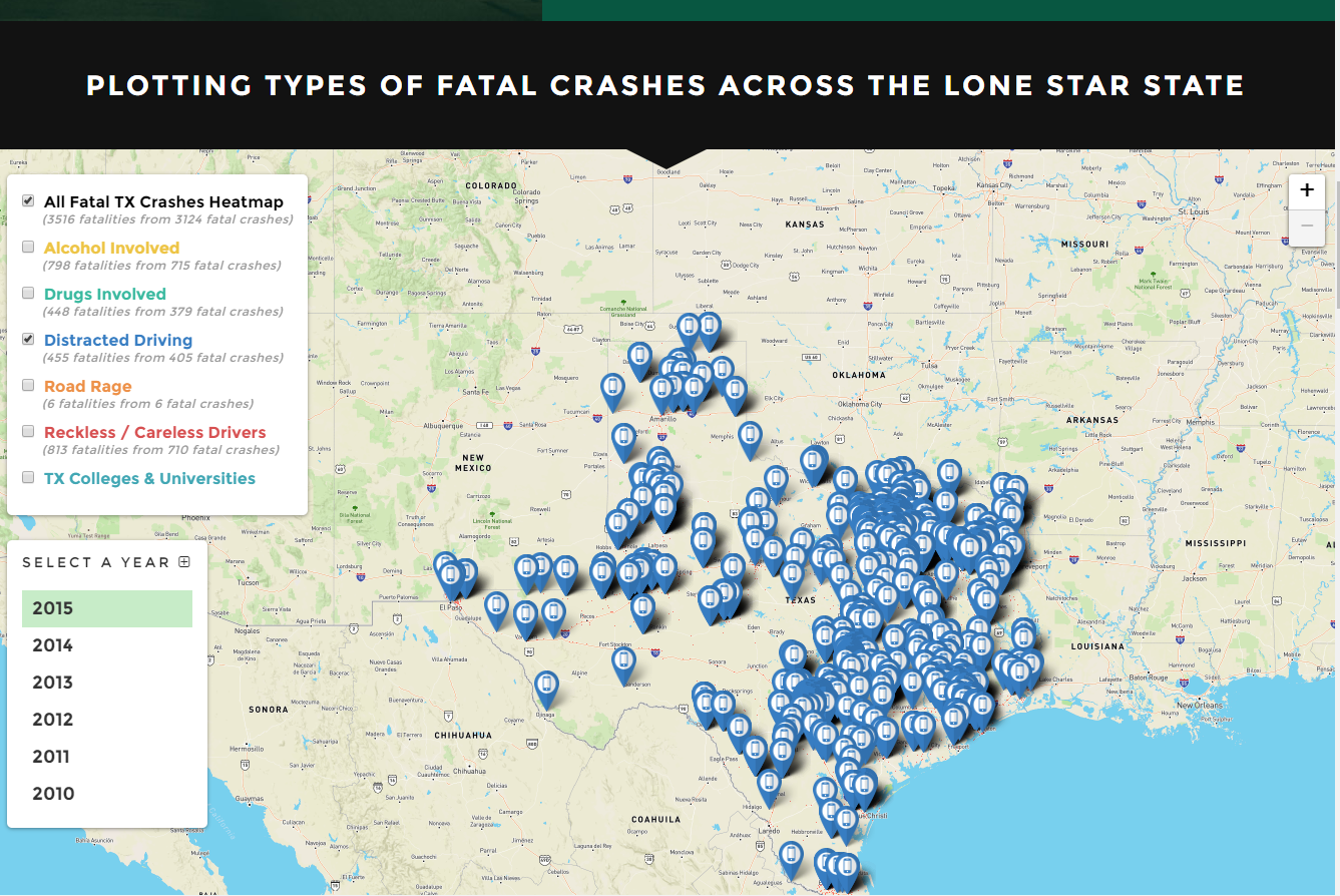 Map Of Texas 2015.Interactive Map For Viewing Information About Texas Fatal Vehicle