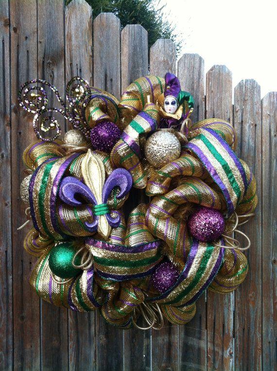 SALE! Deco Mesh Mardi Gras Wreath Purple Green Gold Fleur de Lis Jester Ornaments