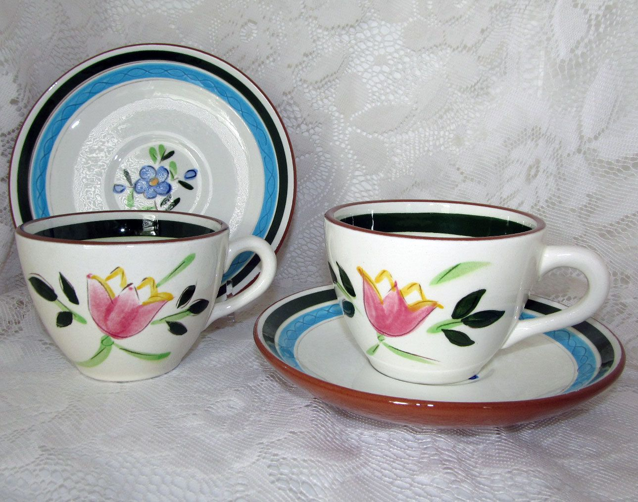 Stangl Pottery Country Garden Coffee Cups or Tea Cups and Saucers. Cup Shape # 4024. Pieces offered by 2kVintageShop on Etsy & Stangl Country Garden Coffee Cups or Tea Cups and Saucers Vintage ...
