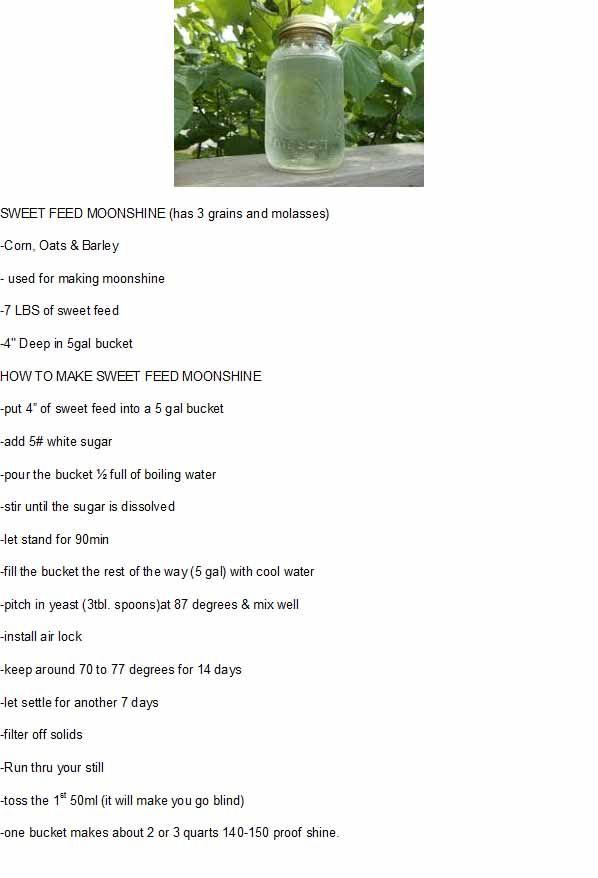 Sweet Feed Moonshine Recipe Moonshine Recipes Moonshine Mash Recipe How To Make Moonshine