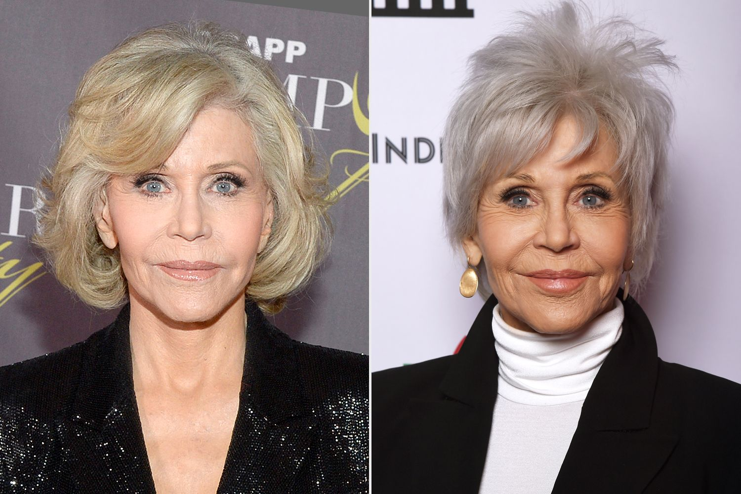 Jane Fonda Sharon Osbourne And 16 Other Celebrities Who Ve Embraced Their Gorgeous Gray Hair In 2020 Gorgeous Gray Hair Sharon Osbourne Hair Grey Hair Celebrities