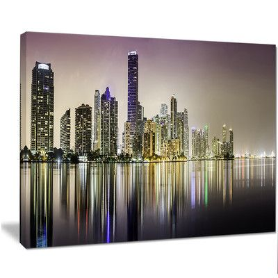 """DesignArt 'Miami Downtown Night Panorama' Graphic Art on Wrapped Canvas Size: 30"""" H x 40"""" W x 1"""" D"""
