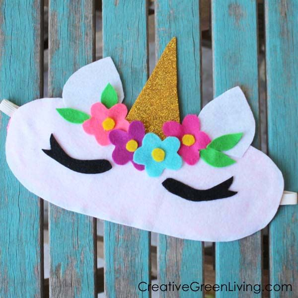 How to Make a Unicorn Horn Sleep Mask from a Recycled TShirt - Unicorn crafts, Sleepover crafts, Diy unicorn horns, Crafts, Masks crafts, Kids unicorn party - Download the FREE printable template to make this adorable unicorn sleeping mask craft! It's the perfect sleepover craft!