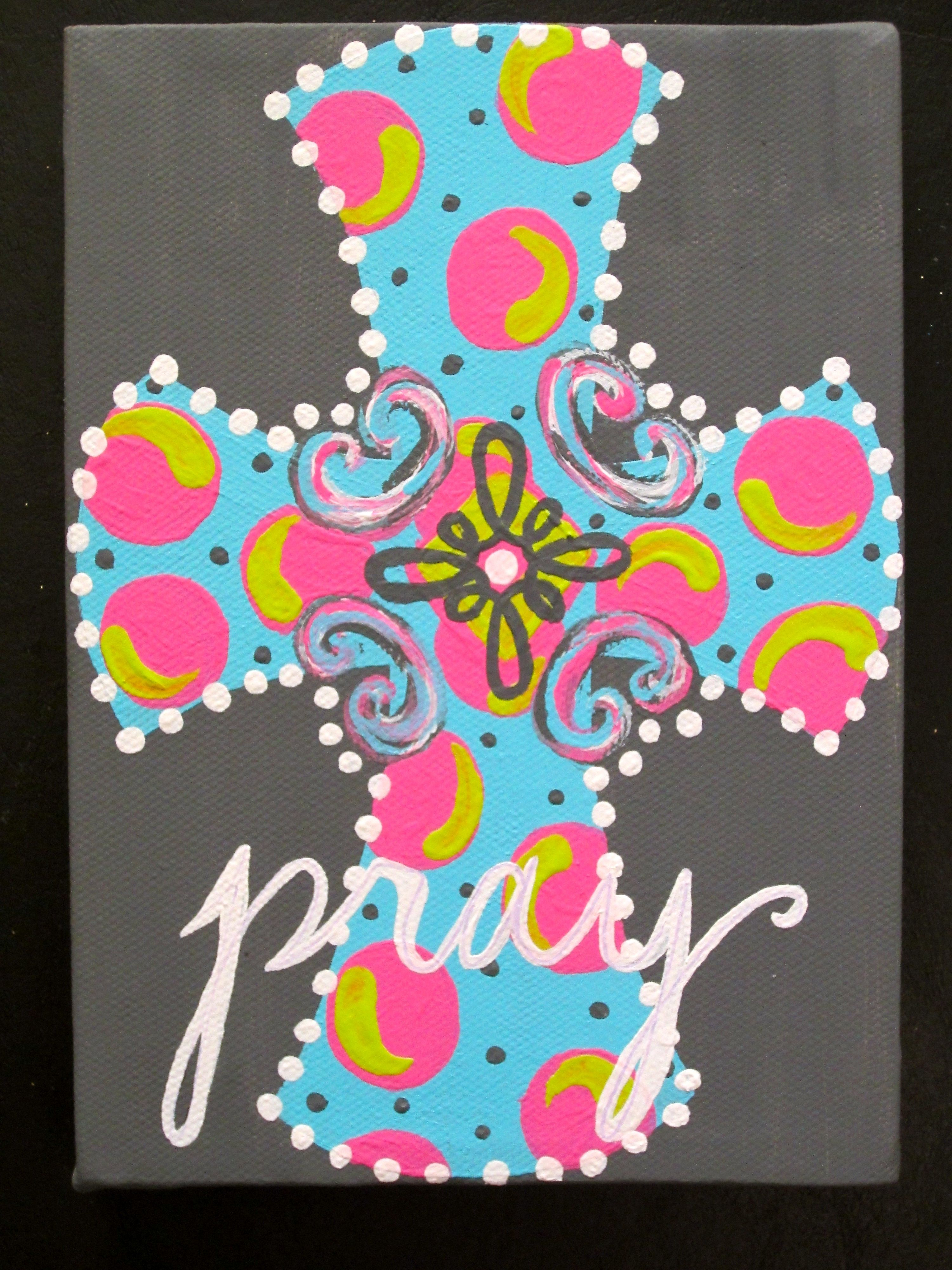 """Another Pinner Got Me Nails Diddd I Love The Solid: Another Pinner's My """"Pray"""" Cross Painted Canvas- Would Be"""