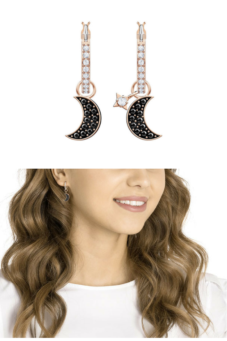 650e3083b DUO MOON HOOP PIERCED EARRINGS, BLACK, ROSE GOLD PLATING by Swarovski -  $79.00 - ➡ Why opt for just one earring style, when you can enjoy multiple  ...