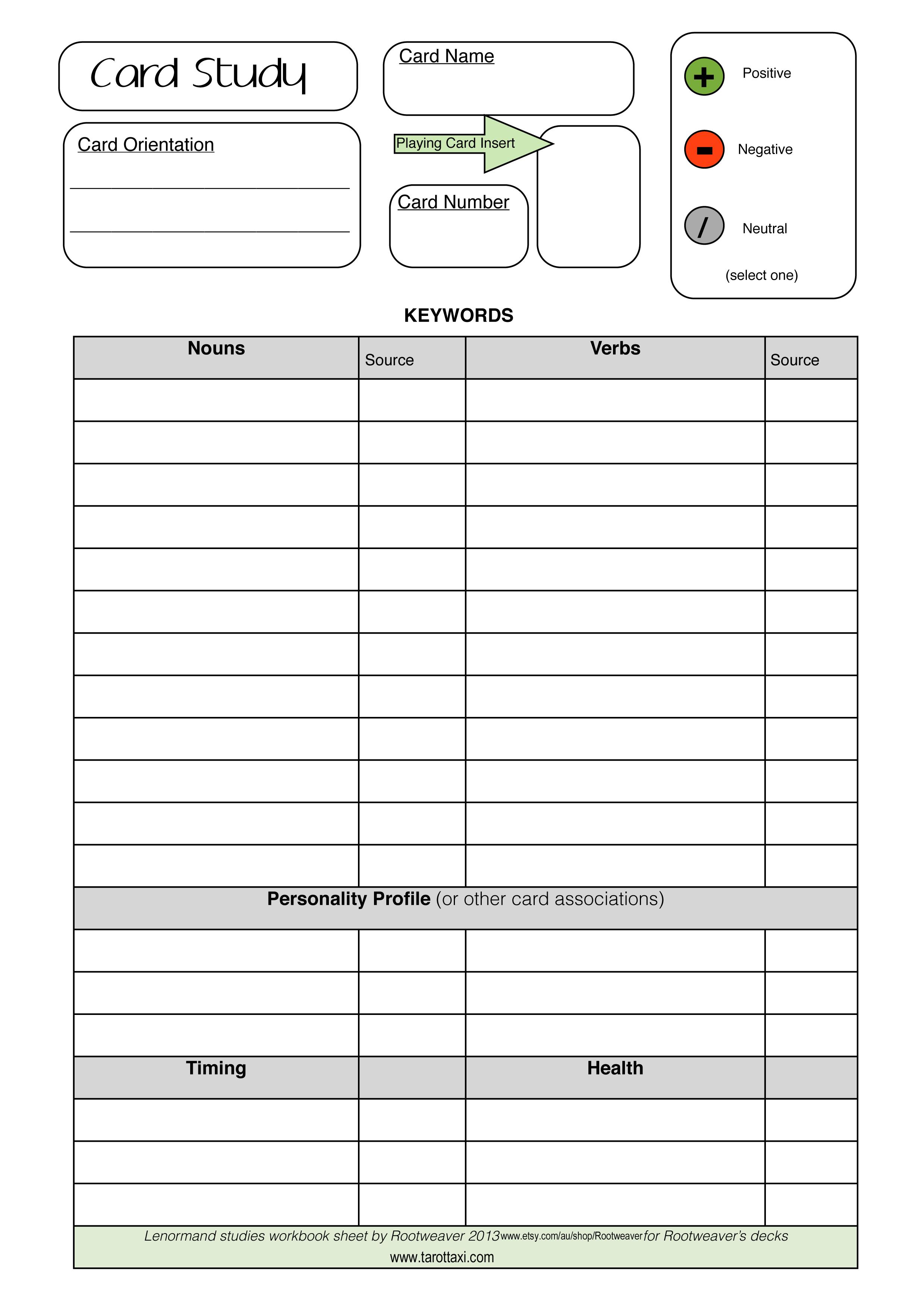 Lenormand Worksheet Free Download Tarot Learning Tarot Cards Tarot Tips [ 3504 x 2478 Pixel ]