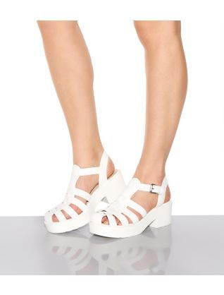 2131d51026f0c6 White Caged Chunky Block Heel Sandals NEED