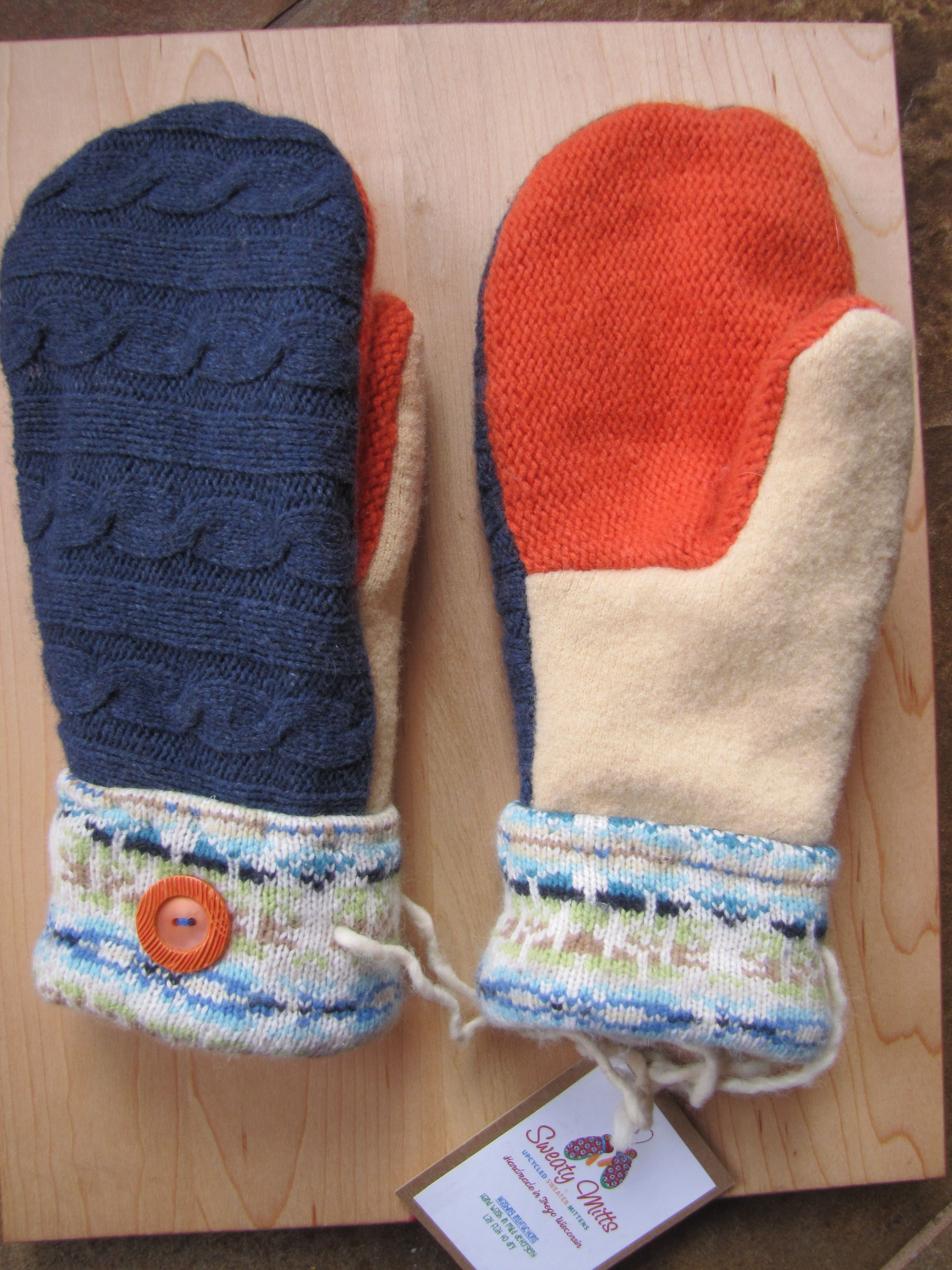 Sweaty Mitts Upcycled Wool Sweater Mittens Mittens Sweater