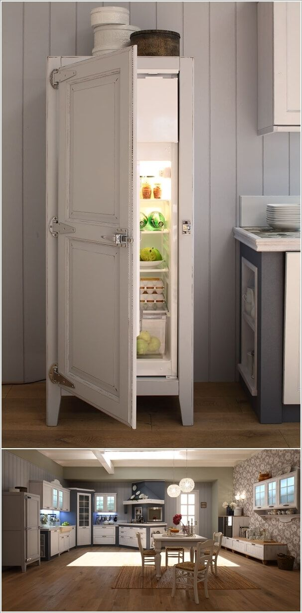 A Cabinet Style Fridge That Looks Like A Piece Of Furniture
