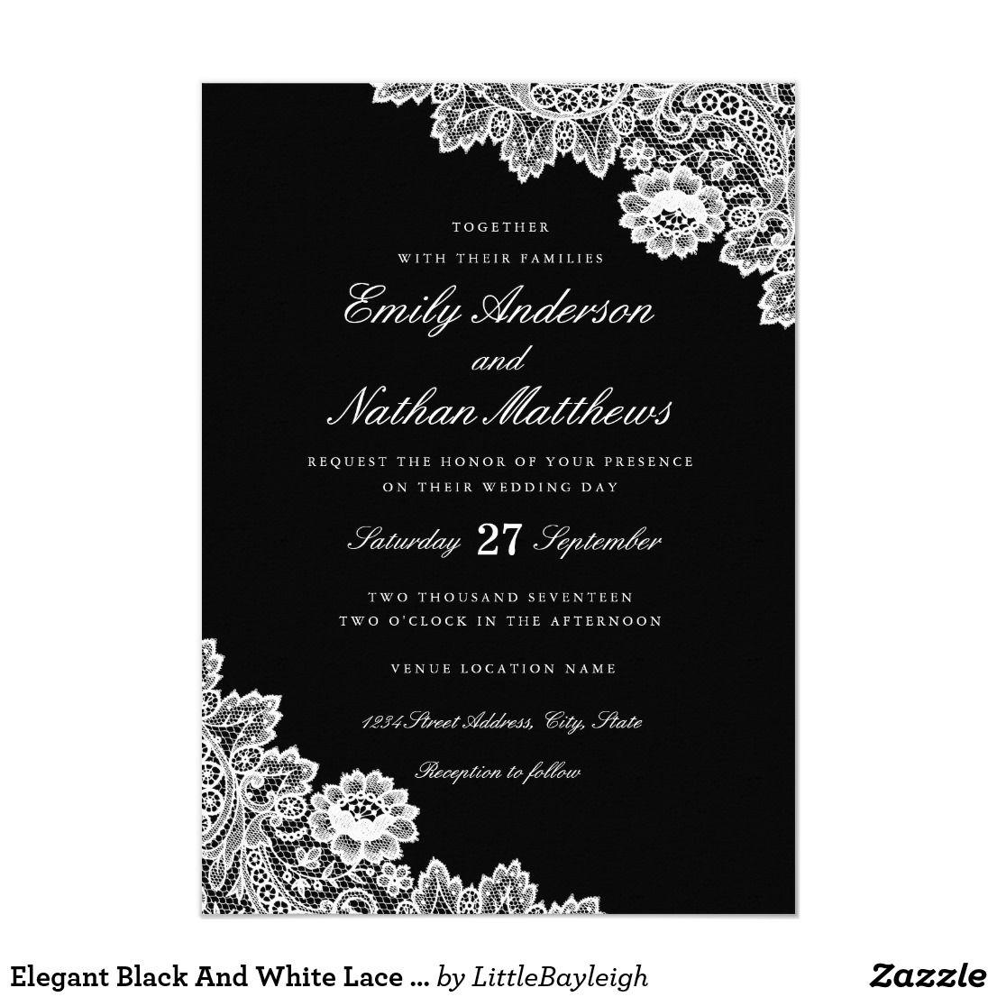 Elegant Black And White Lace Wedding Invitation Zazzle Com
