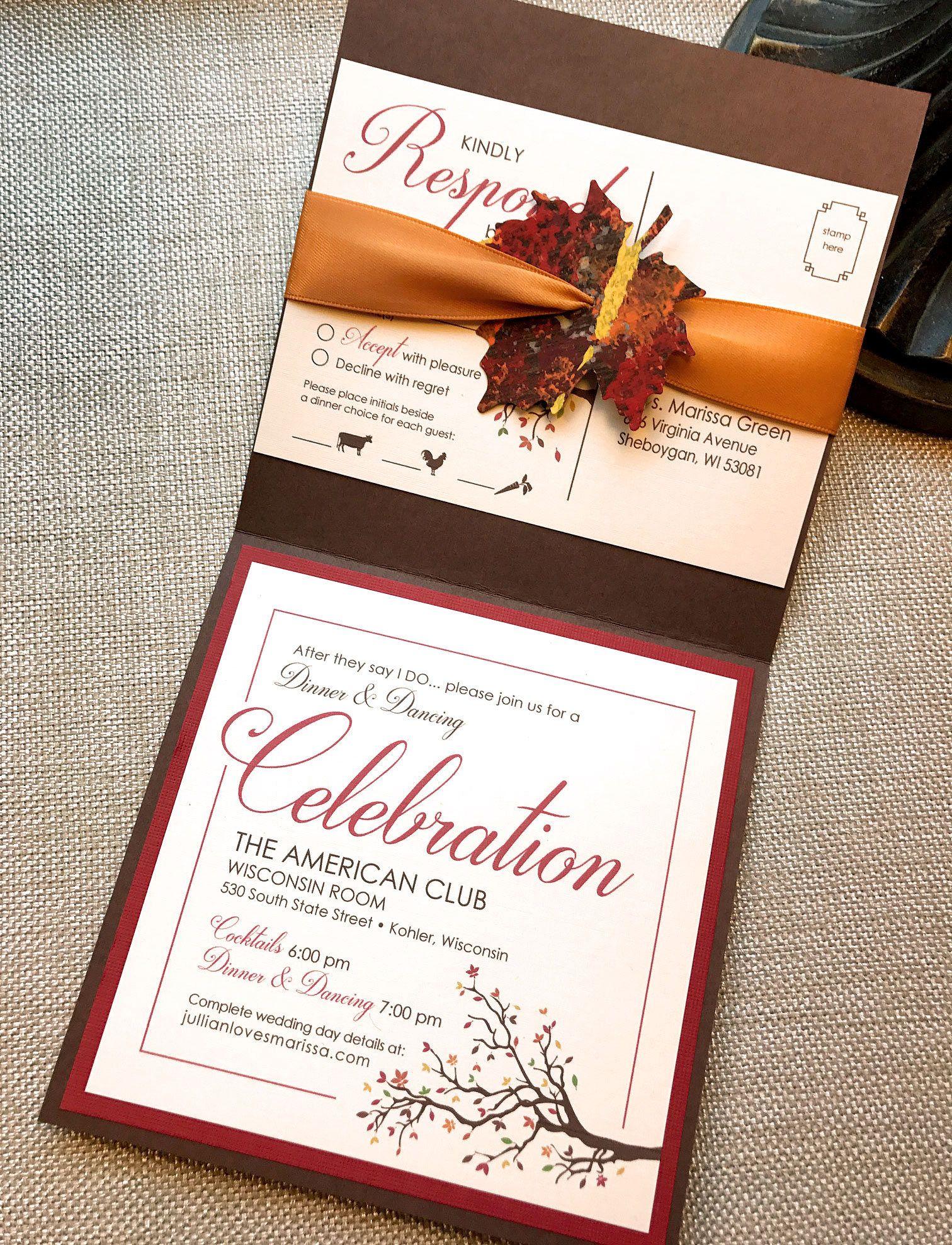 Fall Wedding Invitation, B-Leaf in Love Wedding Invitation, Autumn ...