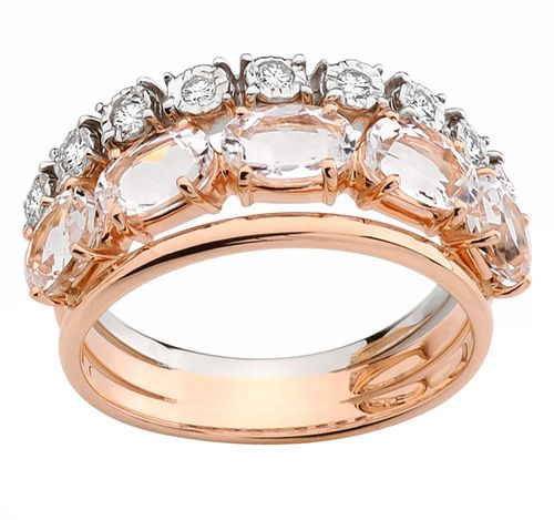 e 18 karat rose and white gold ring Looping Shine Casual