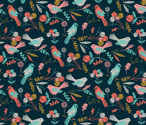 Bloom Birds fabric by bethan_janine on Spoonflower - custom fabric #spoonflowerwrapper