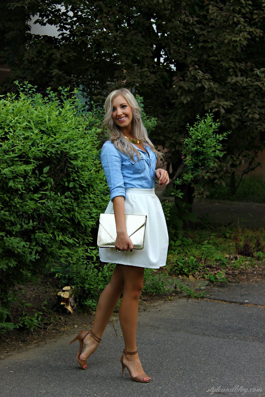 chambray shirt + white skirt + cognac heel sandals