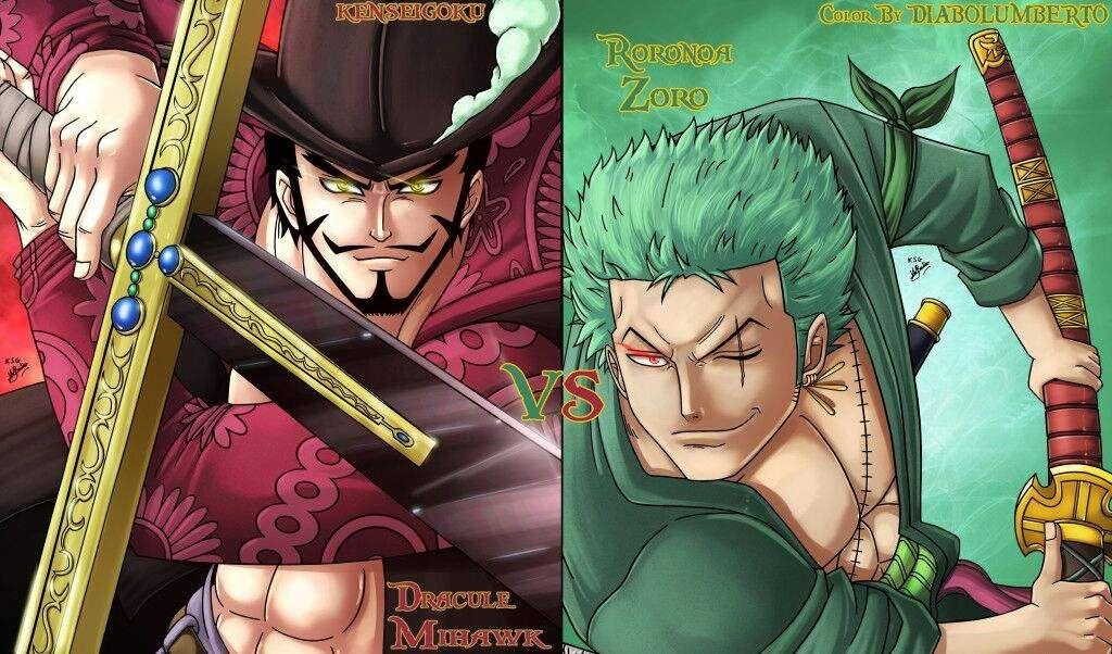Risultati immagini per zoro vs mihawk manga fanart