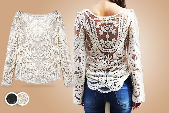 Floral Lace Crochet Top Mihtsham786uk At Yahoocom Black Lace Tops