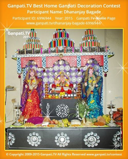 Dhananjay Bagade Home Ganpati Picture 2015. View More Pictures And Videos  Of Ganpati Decoration At