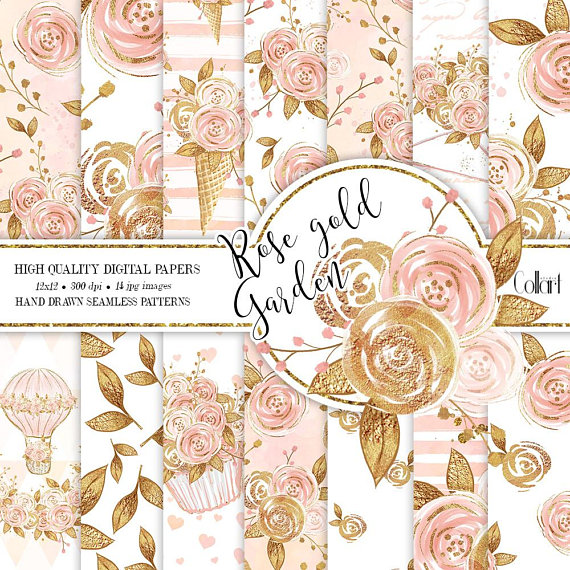 Floral Digital Paper Pack, Rose gold Flowers Planner