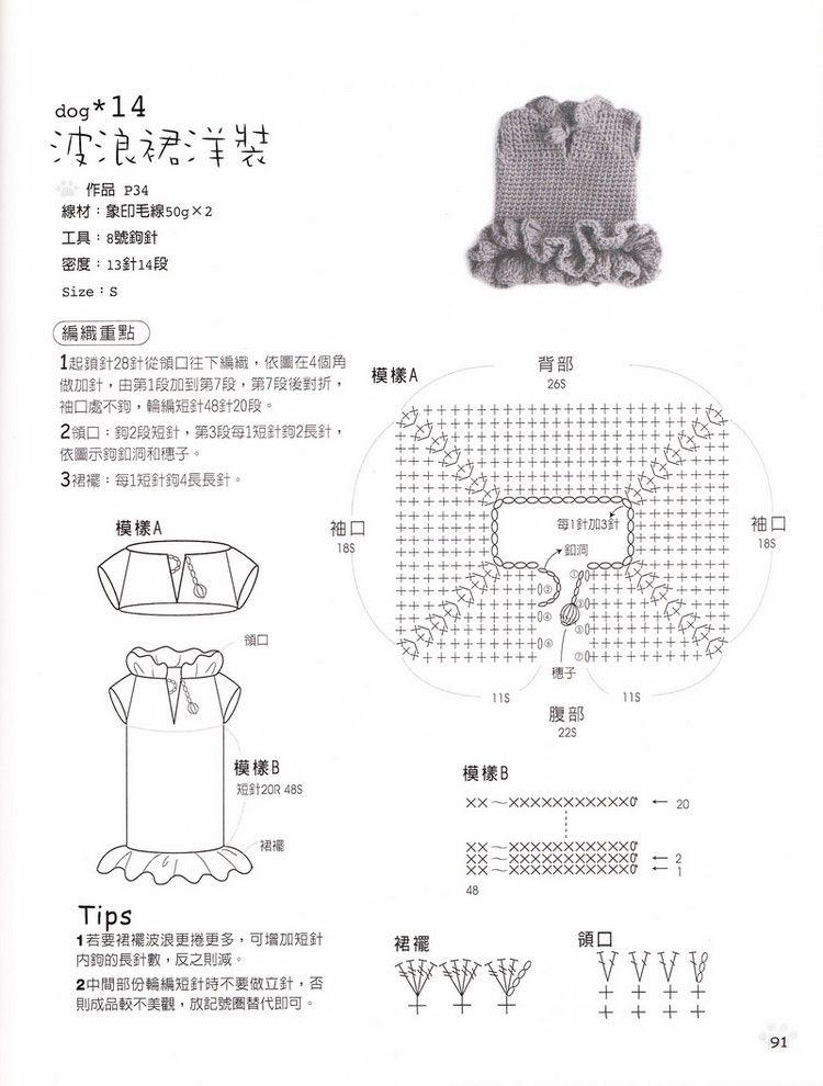 Patron Pets Crochet Ruffle dress - Crochet Patterns | Vestiditos a ...