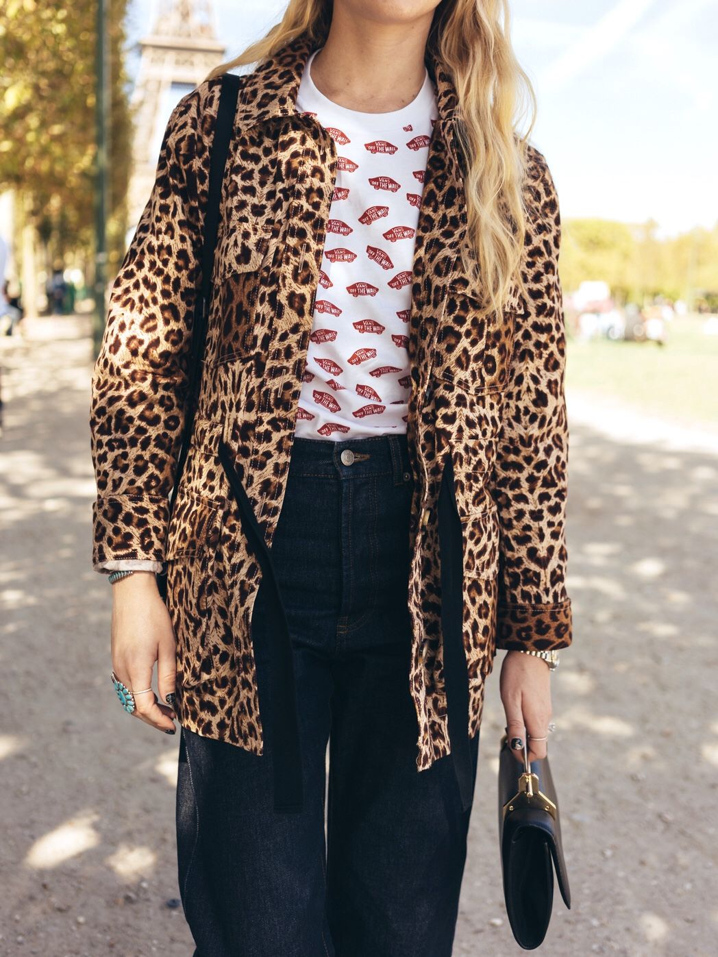 357c943592b9 Wearing: & Other Stories Leopard Jacket, Vans logo graphic tee, Dries Van  Noten jeans, m2malletier clutch. Shop the look, new on the blog.