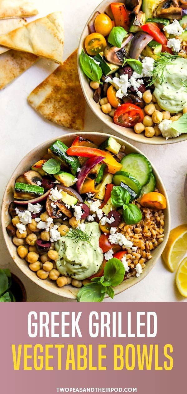 Greek Grilled Vegetable Bowls bring bright colors and Mediterranean flavor to a hearty and healthy bowl of grains and veggies. These vegetarian bowls are great for lunch, dinner, and meal prepping!
