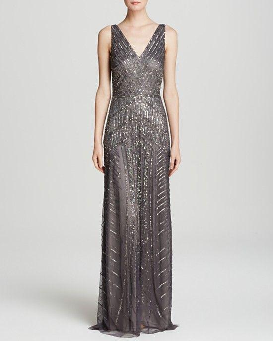Adrianna Papell Sleeveless V-Neck Beaded in Gunmetal | Dresses + ...