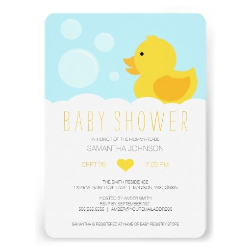 Rubber Ducky Yellow Neutral Baby Shower Card
