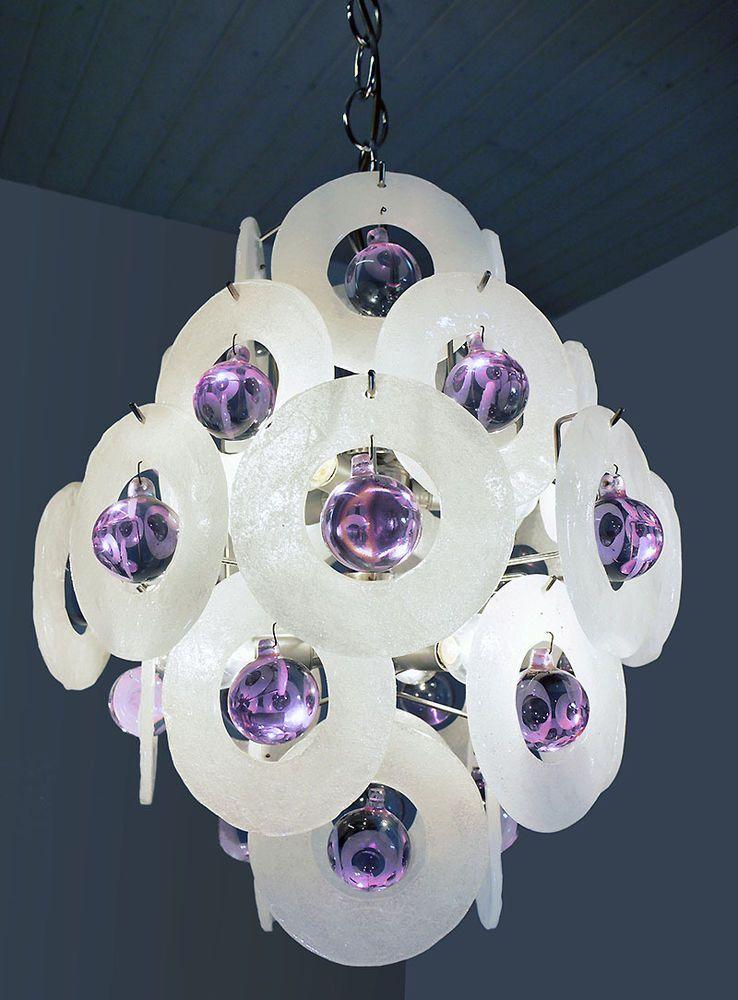 MURANO Ice Glass Discs & Balls CHANDELIER by VISTOSI Italy 60´s