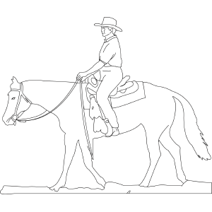 Coloring Page Of Western Horse And Rider Dave Makeover Pinterest