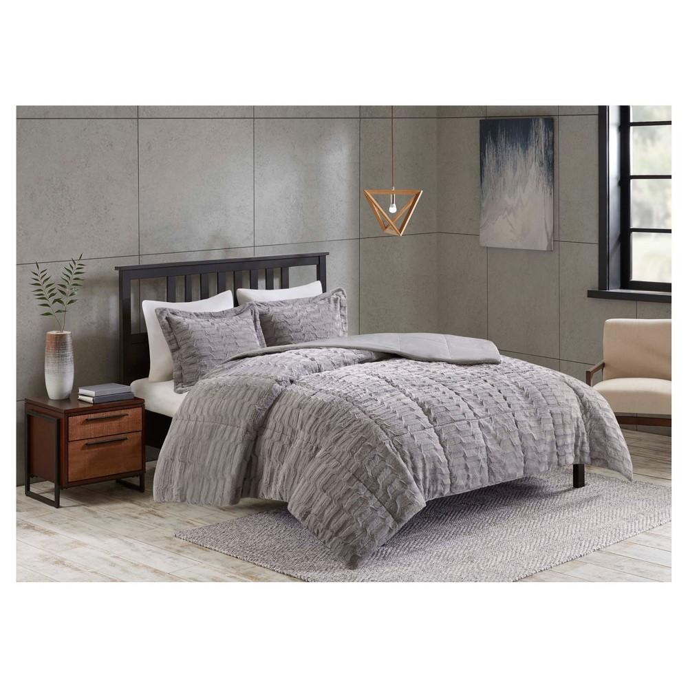 Full/Queen 3pc Vermont Long Faux Fur Comforter Set Gray