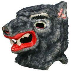 Vintage Wolf Masquerade Mask, circa 1930s