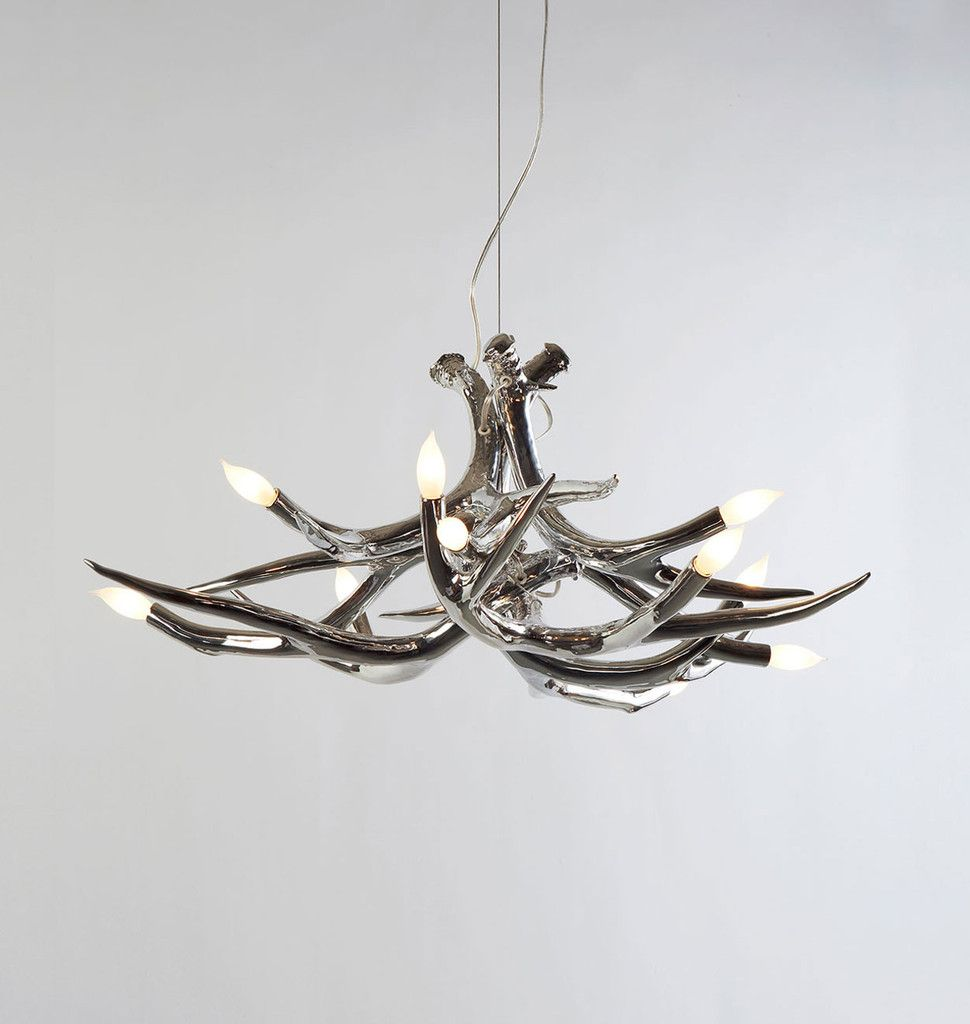 Superordinate antler chandelier 6 antlers chrome designed by superordinate antler chandelier 6 antlers chrome designed by jason miller for roll mozeypictures Image collections