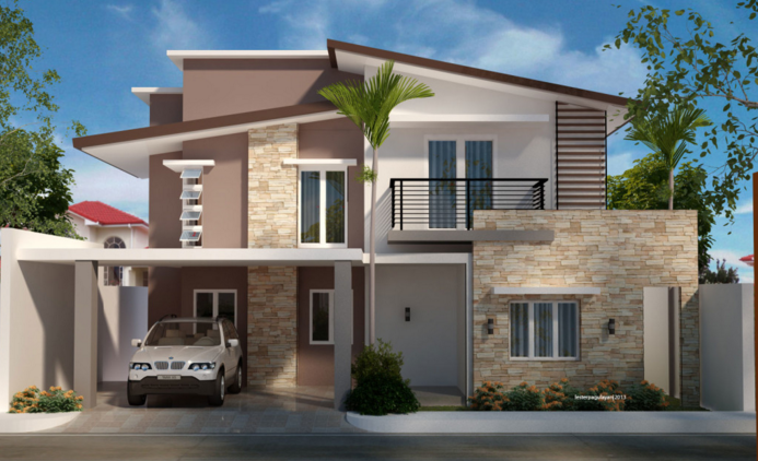 Two Storey Residential House Modern Style House Plans Contemporary House Design Small Contemporary House Plans