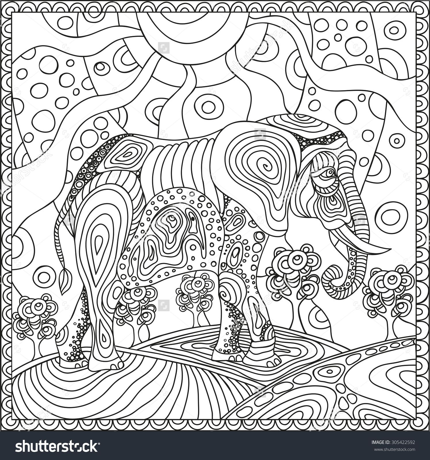 elephant zen doodle coloring page elephant coloring pages for